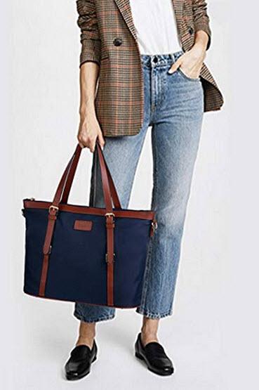 Bageek Tote Bag for Women Nylon Waterproof Tote Purses Blue Work Tote Handbags blue