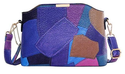 Bagood Women Top Handle Stripes Stitching Handbag Cross Body Bag Multi-color Shoulder Bag Teen G ...