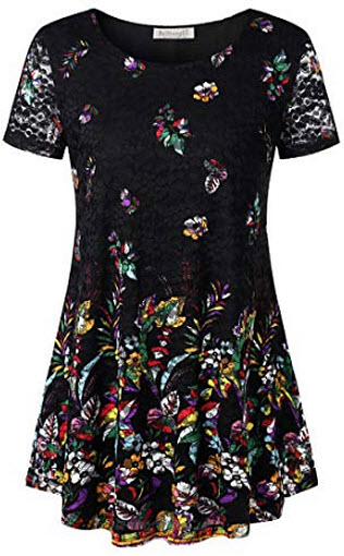 BaiShengGT Women's O Neck Sheer Long Sleeve A line Floral Lace Tunic Top Blouse, black flo ...