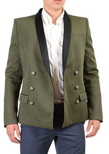 Balmain Men's Khaki Green Tuxedo Style Double Breasted Sport Coat US 40 IT 50.