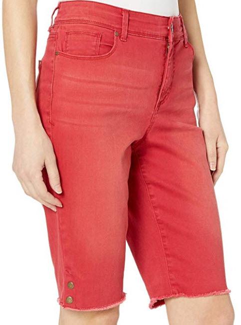 Bandolino Women's Mandie 5 Pocket Denim Bermuda Short, ruby
