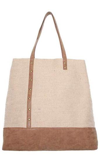 Banglux 18 inch Linen Tote Bag Women's Handbag Shopping Bag Dhoulder Bag – Beige