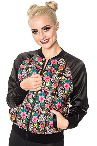 Banned Brooke Sugar Skull Flowers Floral Womens Harrington Punk Bomber Jacket