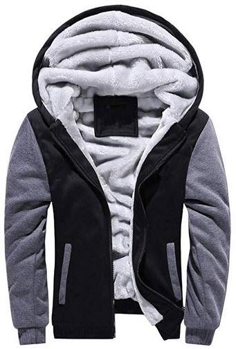 Baonmy Men's Casual Winter Fleece Lined Hoodies Jackets Zip Pullover Warm Thick Coats black