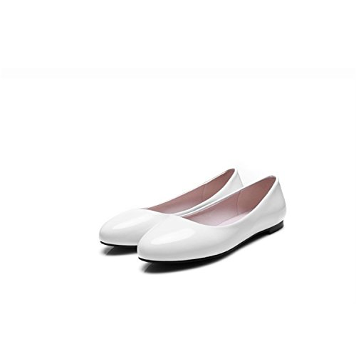 Baqijian Large Size 34-45 Women Patent Leather PU Flat Shoes Casual Ladies Ballet Shoes Round He ...