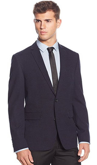 Bar III Slim Fit Navy Checked Two Button Notch Lapel New Men's Sport Coat.