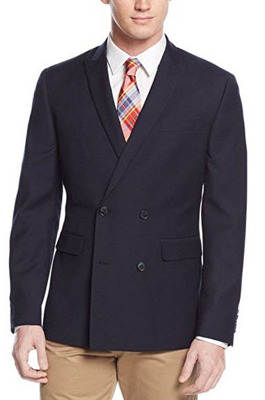 Bar Iii Slim Fit Solid Navy Blue Double Breasted 4-on-2 Blazer Sportcoat.