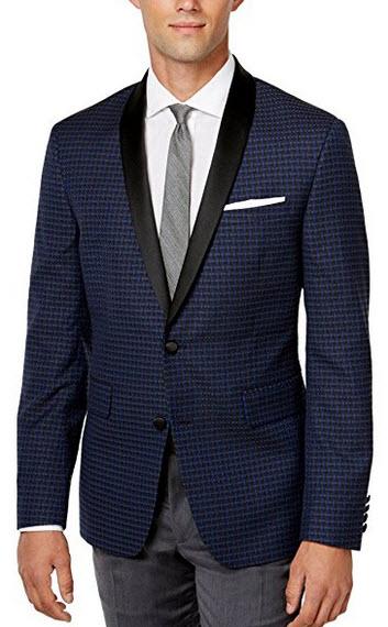 Bar III Slim Navy Jacquard Shawl Lapel Two Button New Men's Evening Jacket navy