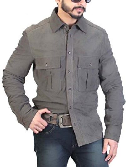 Bareskin Men's Slim Fit Suede Shirt .