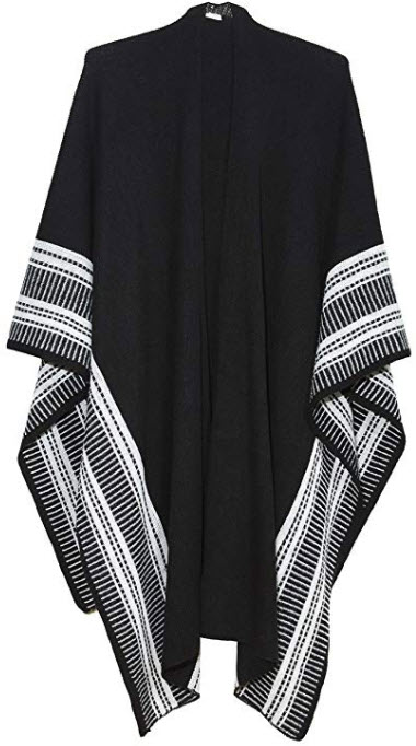 Basha Geo Border Black Ruana Wraps For Women; Cozy Wrap Sweater Tie Front Design black