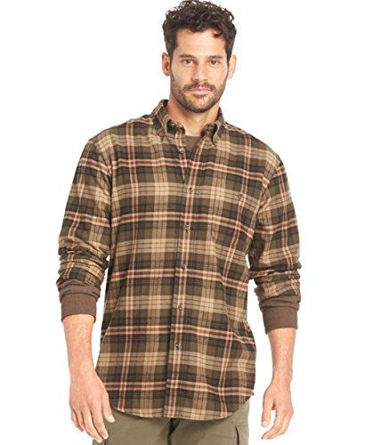 Bass Mens Fireside Flannel Cotton Plaid Button-Down Shirt Brown 2XL