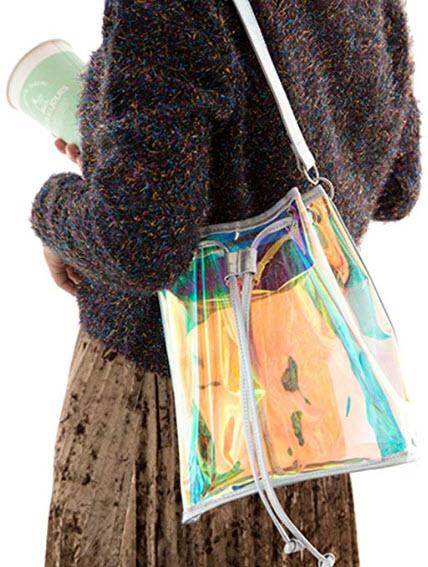 Batique Women Girls Transparent Hologram Shoulder Bag Drawstring Bucket Bag Tote Handbag
