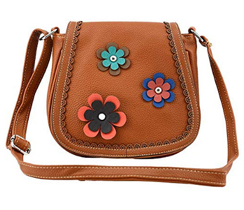 Bausweety Girls Vintage Satchel Crossbody Bag PU Leather Shoulder Bag, b-brown