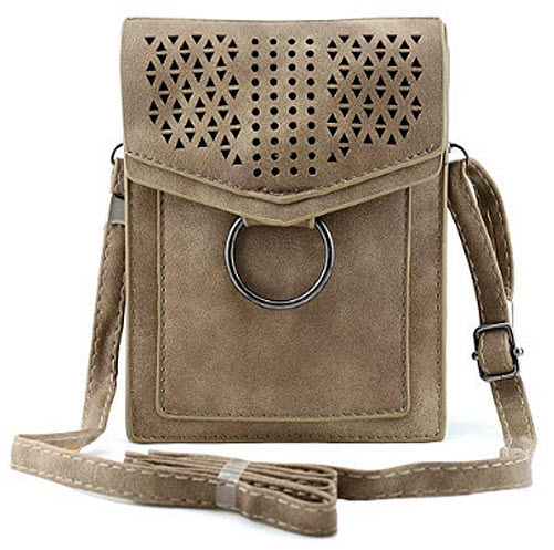 Bausweety Hollow Portable Small Crossbody Bag PU Leather Cell Phone wallet, grey