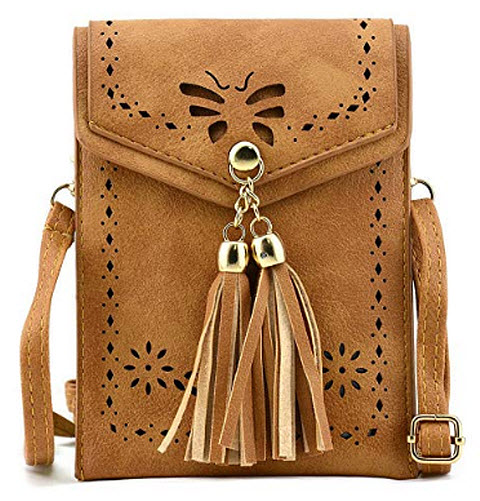 Bausweety woman's Small Crossbody Bag Portable Cell Phone Shoulder Bags PU Leather, a-brown