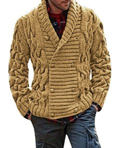 Bbalizko Mens Ribbed Knit Chunky Cardigan Double Breasted Shawl Collar Sweater Jacket