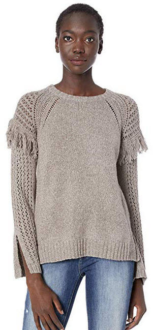 BCBGeneration Women's Fringe Pullover Sweater marled grey