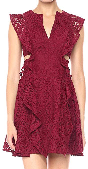 BCBGMax Azria Women's Lydia Knit Lace Dress with Ruffles and Side Cutouts deep craneberry