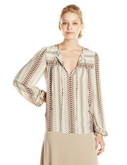 BCBGMAXAZRIA Women's Lorella Printed Long Sleeve Peasant Top
