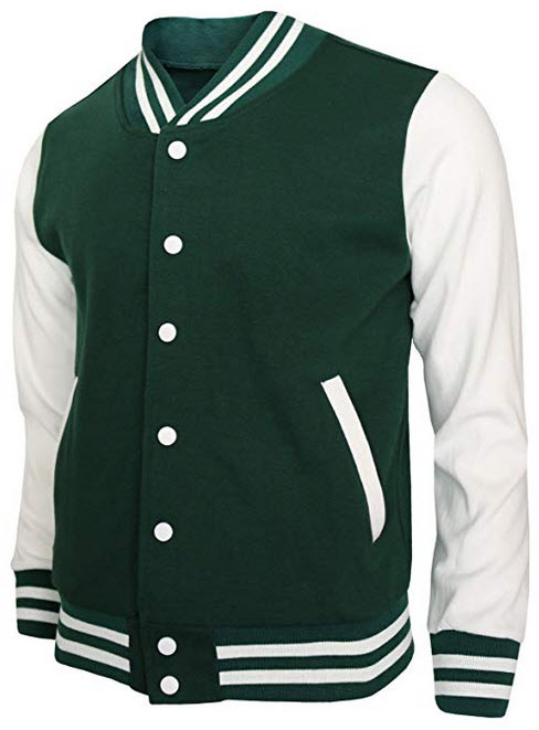 BCPOLO Baseball Jacket Varsity Baseball Cotton Jacket Letterman Jacket 8 Colors green