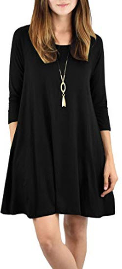 Beautife Womens Oversized Mini Dresses Casual Round Neck 3/4 Sleeve Loose Party Tunic Dress, black