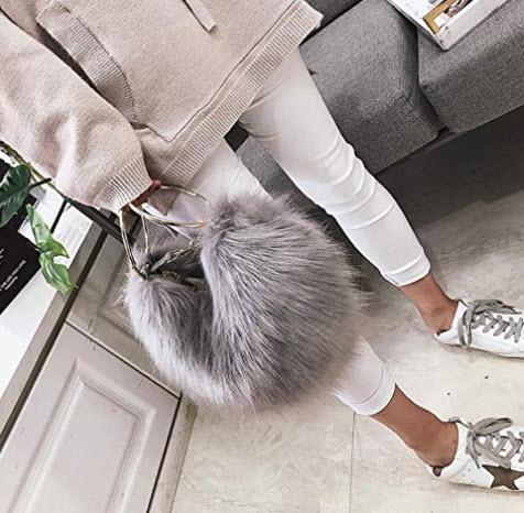 BeeChamp Fashion Women Faux Fur Ring Clutch Cute Heart Shaped Evening Handbag Fluffy Crossbody S ...