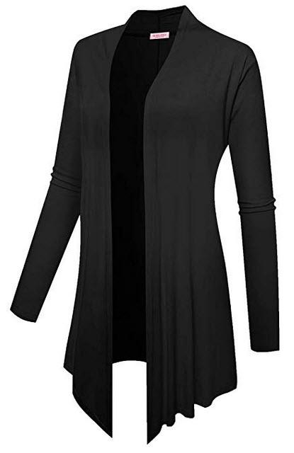 BELAROI Women Plus Size Open Front Lightweight Soft Drape Light Long Cardigan black