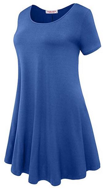 BELAROI Womens Short Sleeve Tunic Tops Plus Size T Shirt Blouses S-3X steel blue
