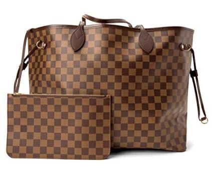 BELIKSTORE Ladies Shopper Checkered Handbag Neverfull Style Canvas Tote Bag for Women Top Handle ...