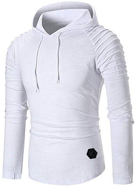 BELLEZIVA Mens Slim Fit Pullover Hoodie T-Shirt Comfy Sweatshirt Pleated Sleeves Solid Drawstrin ...