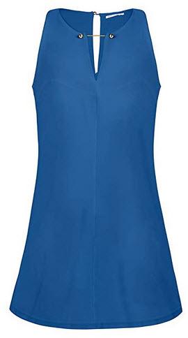 BELONGSCI Women's Casual Sleeveless V Neck Straight Shift Dress Women Outfit Casual Dress blue