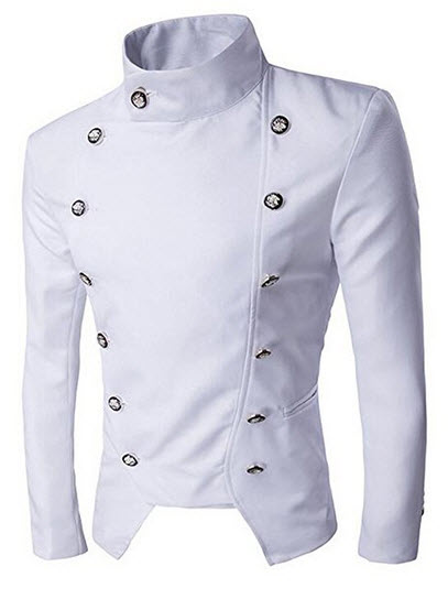 Benibos Mens Casual Double Breasted High Neck Slim Fit Short Jacket.