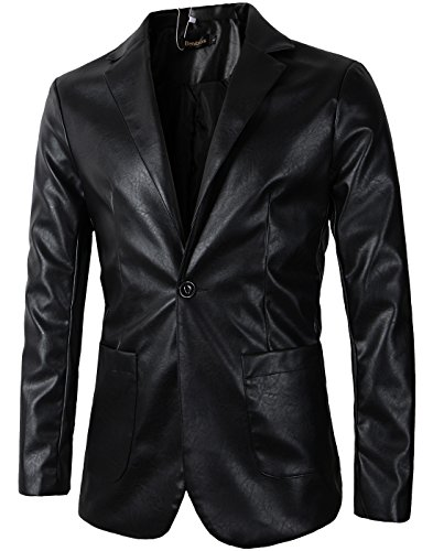 Benibos Men's Casual Pu Faux Leather One Button Suit Blazer