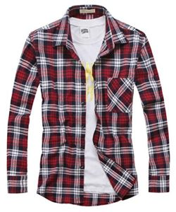 Benibos Men's Classic Long Sleeve Plaid Flannel Shirt