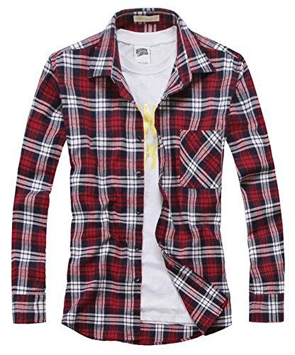 Benibos Men's Classic Long Sleeve Plaid Flannel Shirt