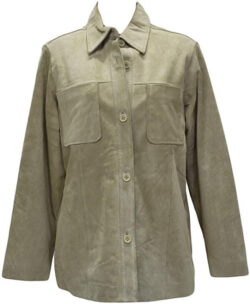 BergamaP 168 Beige Suede Leather Botton Down Shirt Jacket Stroller Coat M Medium