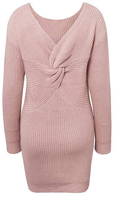 BerryGo Women's Casual Long Sleeve Off The Shoulder Knitted Sweater Mini Dress dusty pink