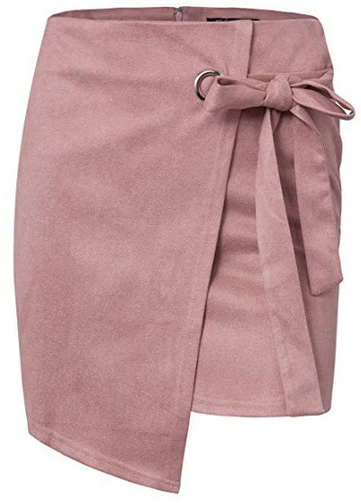 BerryGo Women's Faux Suede High Waist Wrap Party Pencil Mini Skirt nude pink