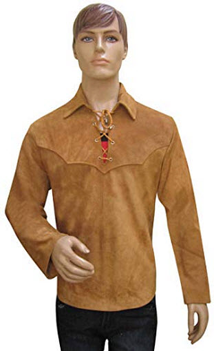 Bespoke Tailored Leather Suede Leather Shirt with Laces – Custom Made to Order