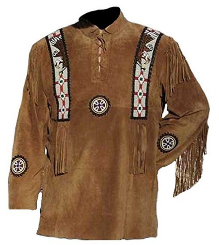 Bestzo Men's Indian War Shirt Cow Suede with Eagle Beads Design .