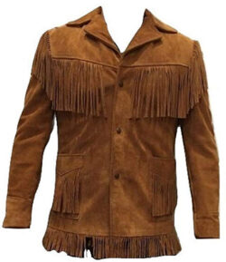 Bestzo Men's Western Cowboy Fringed Suede Leather Jacket Brown