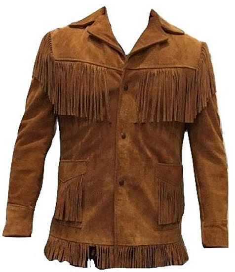 Bestzo Men's Western Cowboy Fringed Suede Leather Jacket Brown