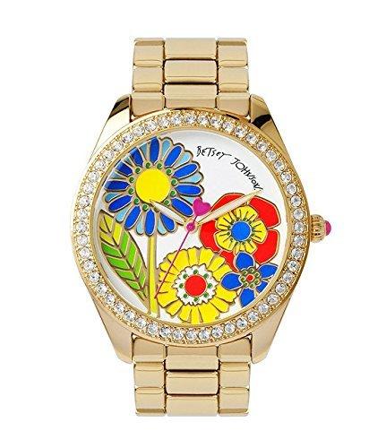 Betsey Johnson Multi-colored Floral Motif Dial Gold Bracelet Watch