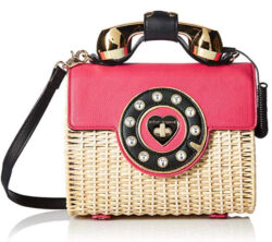 Betsey Johnson Wicker Magenta Color Phone Bag