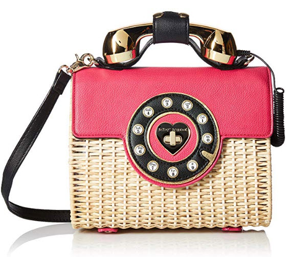 Betsey Johnson Wicker Magenta Color Phone Bag