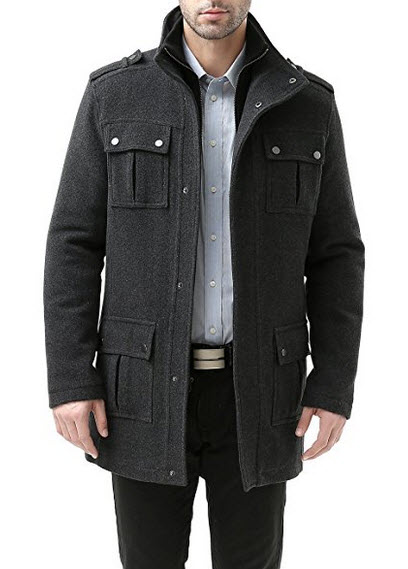 BGSD Men's 'David' Wool Blend Military Jacket.