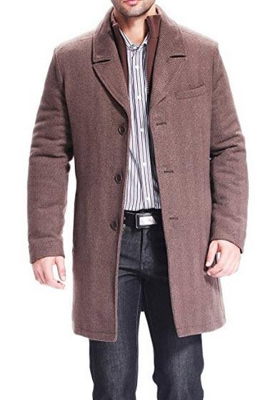 BGSD Men's 'Derek' Herringbone Wool Blend Bibbed Walking Coat.