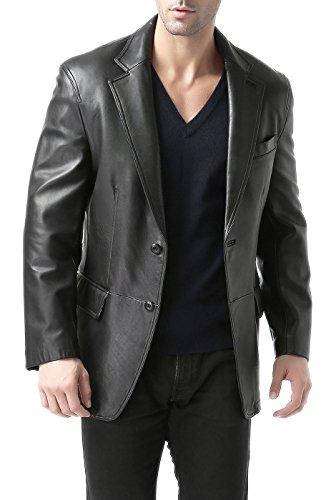 "BGSD Men's ""Grant"" Two-Button New Zealand Lambskin Leather Blazer"