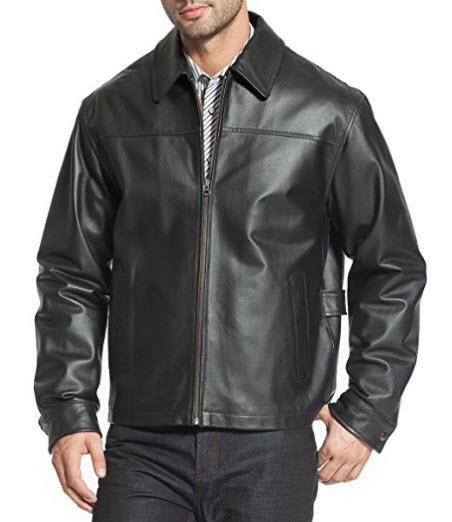 "BGSD Men's ""Greg"" Open Bottom Zip Front Leather Jacket."