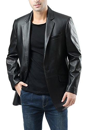 BGSD Men's John Two-Button Lambskin Leather Blazer (Regular Tall & Short)